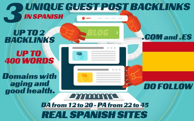 I will write and publish 3 unique native spanish guest post in 3 differents blogs of my pbn