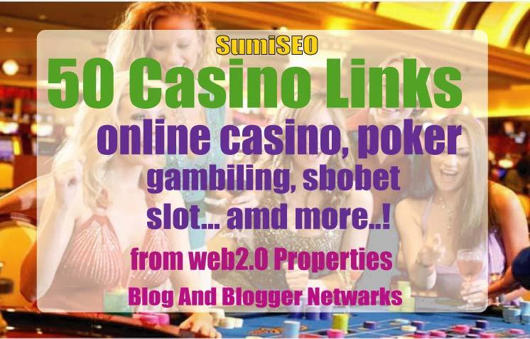 50 Casino Blog post- Casino / Gambling / Poker / Betting / sports sites From Web2.0 Poperties