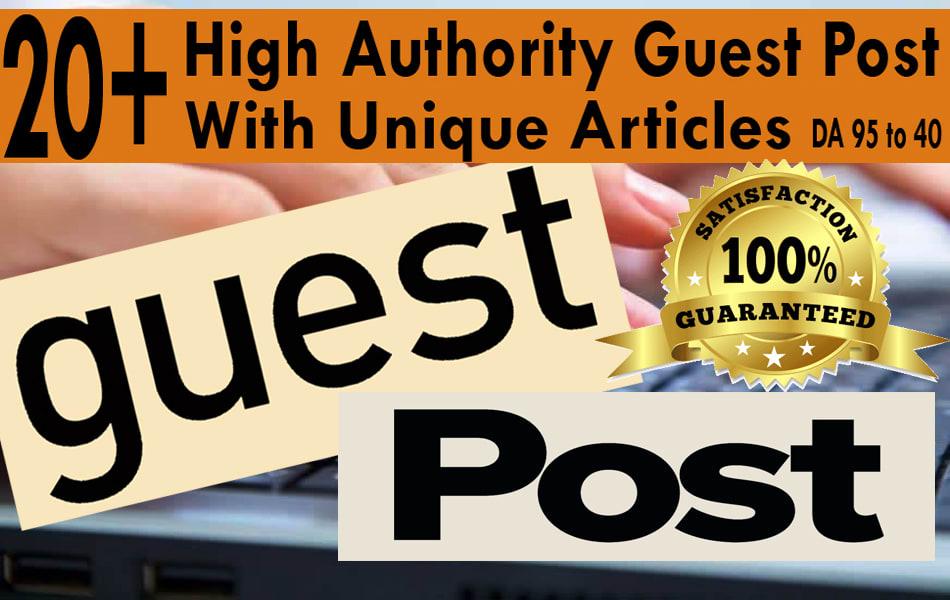 Create 25 high da guest post on authority blogs Plus EDU guest post da 95 to 40