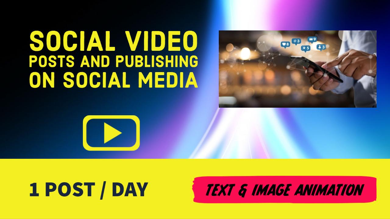 Social Video Posts Design and Publishing on Twitter,  Facebook,  Linkedin,  Instagram
