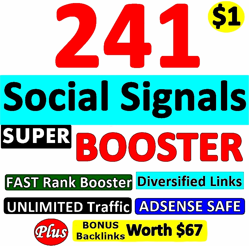 241 SUPER BOOSTER SOCIAL SIGNAL Backlinks- Verified AUTHORITY Google Page #1 Ranking SOCIAL SIGNALS