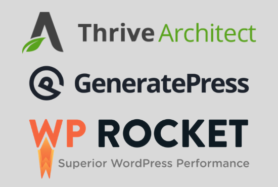 I will install thrive architect,  generatepress theme and wp rocket