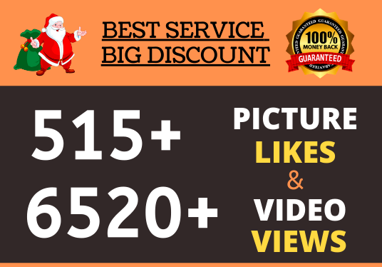 Instant 515+ High Quality Like Promotion and 6520+ Video View Fast Delivery