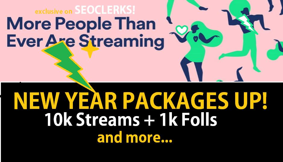 8-10kStreams & 1k Folls New Year STREAMSPLUS PACKAGE