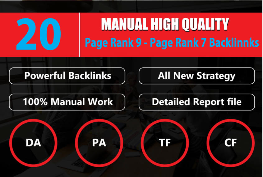 20 PR9 / DA 80+ High DA Authority Permanent Backlinks to Boost SEO Rank