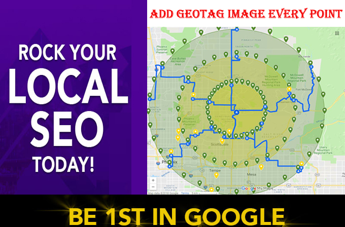 I will create 50 google map point citations use GEOtag image