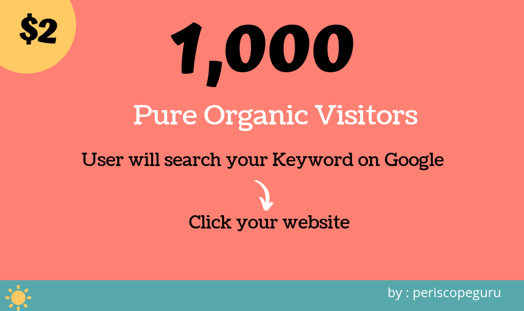 1000 Keywords Targeted Visitors from Google, Organic