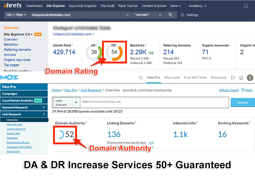 Limited time - DA and DR Increase Services 50+ Guaranteed