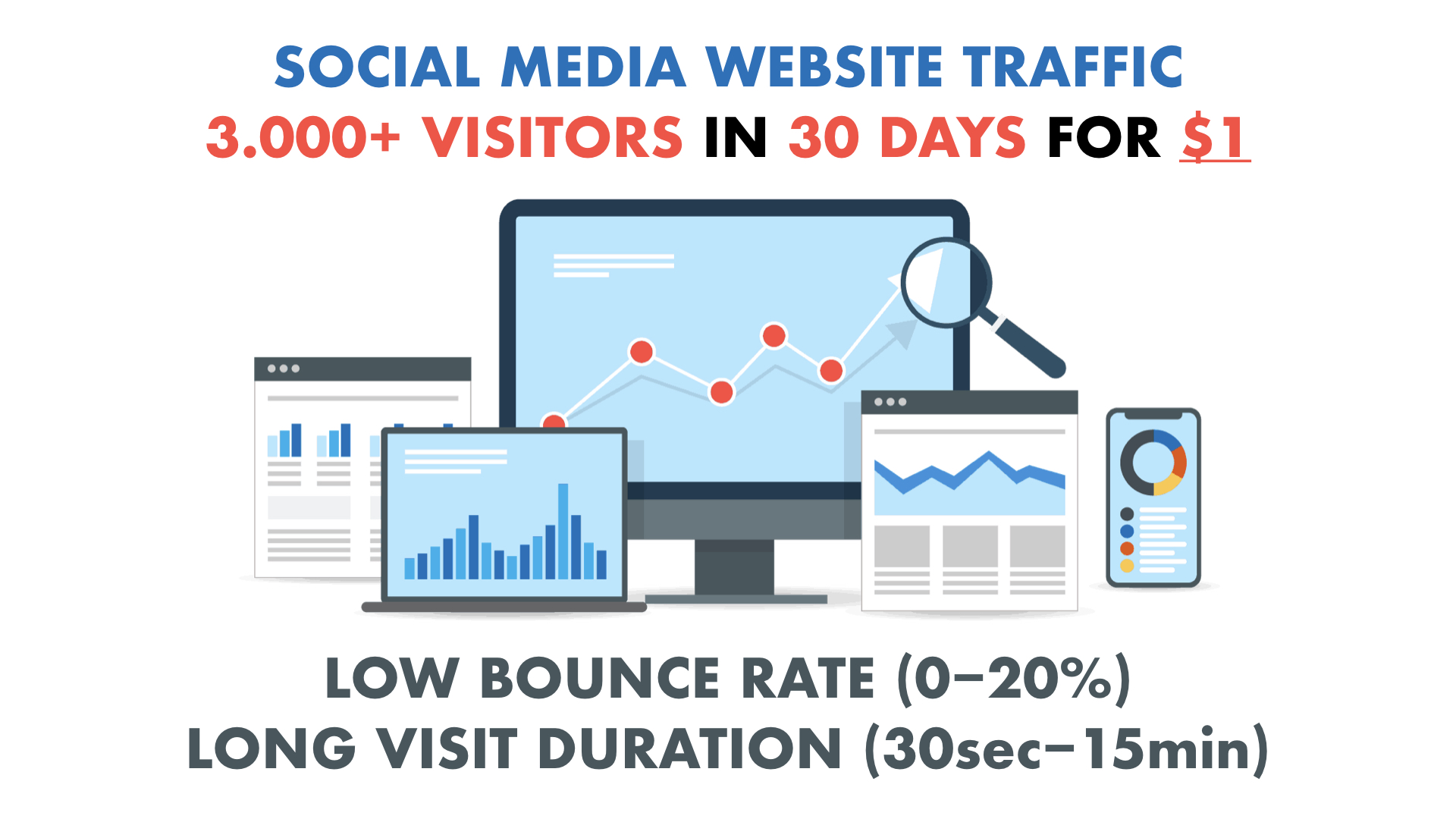 SOCIAL MEDIA Website Traffic with Low Bounce Rate and Long Visit Duration for 30 days