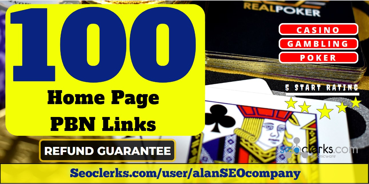 100 Casino,  Poker,  Gambling Related High Quality PBN Backlinks