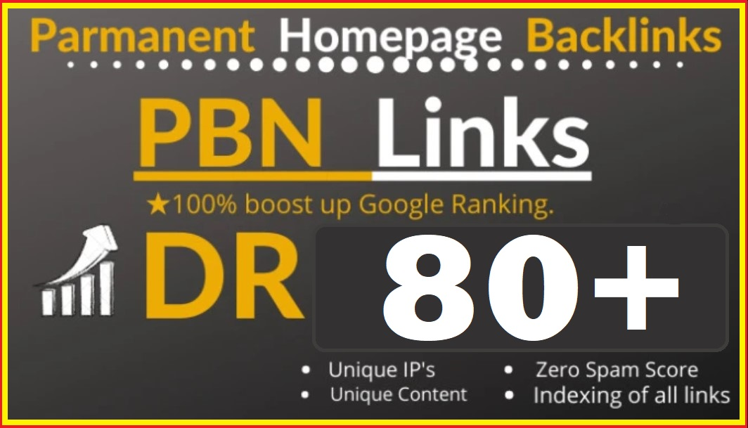 50 Permanent DR 80 Homepage PBN Dofollow Backlink