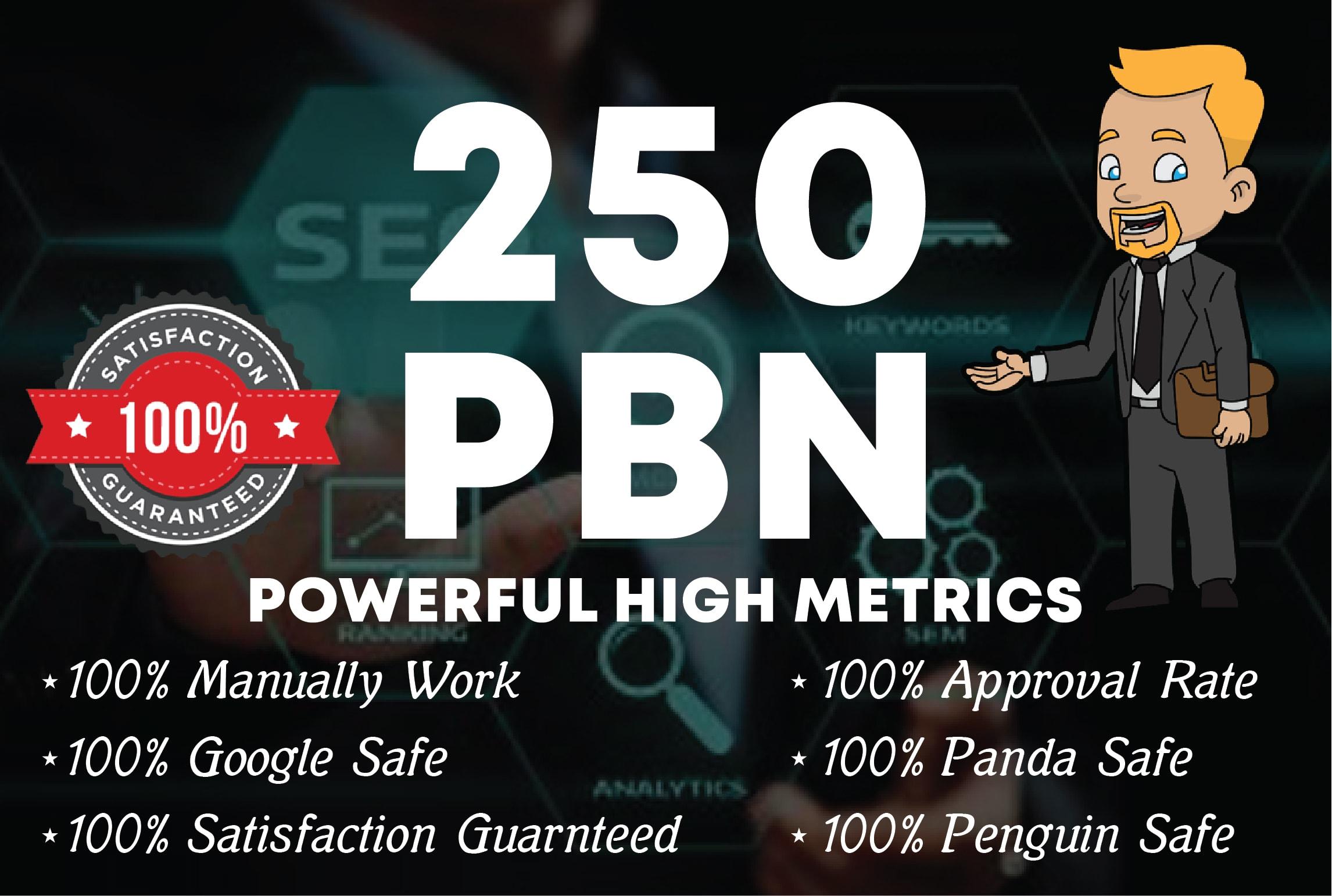 250 DA 50+ manual unique domain homepage pbn backlinks