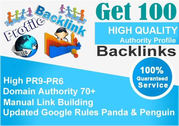 Monually Done 100 PR9-6 HQ Authority Profile Backlinks With HIGH DA PA 50+