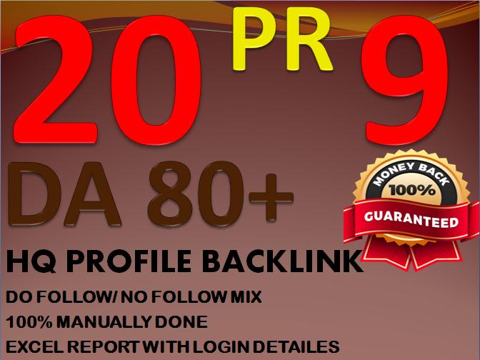 Get DA 80+ All PR-9 20 Safe SEO HQ Authority Profile Backlinks