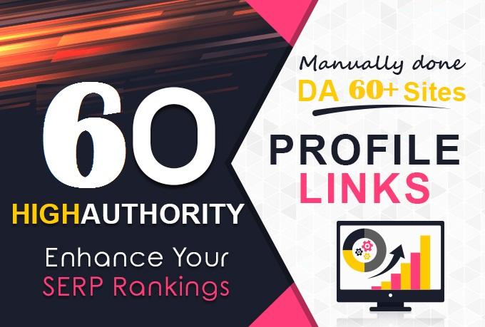 Get TOP 60 DA60+ HQ Profile Backlinks to increase SERP SEO WEB Ranking