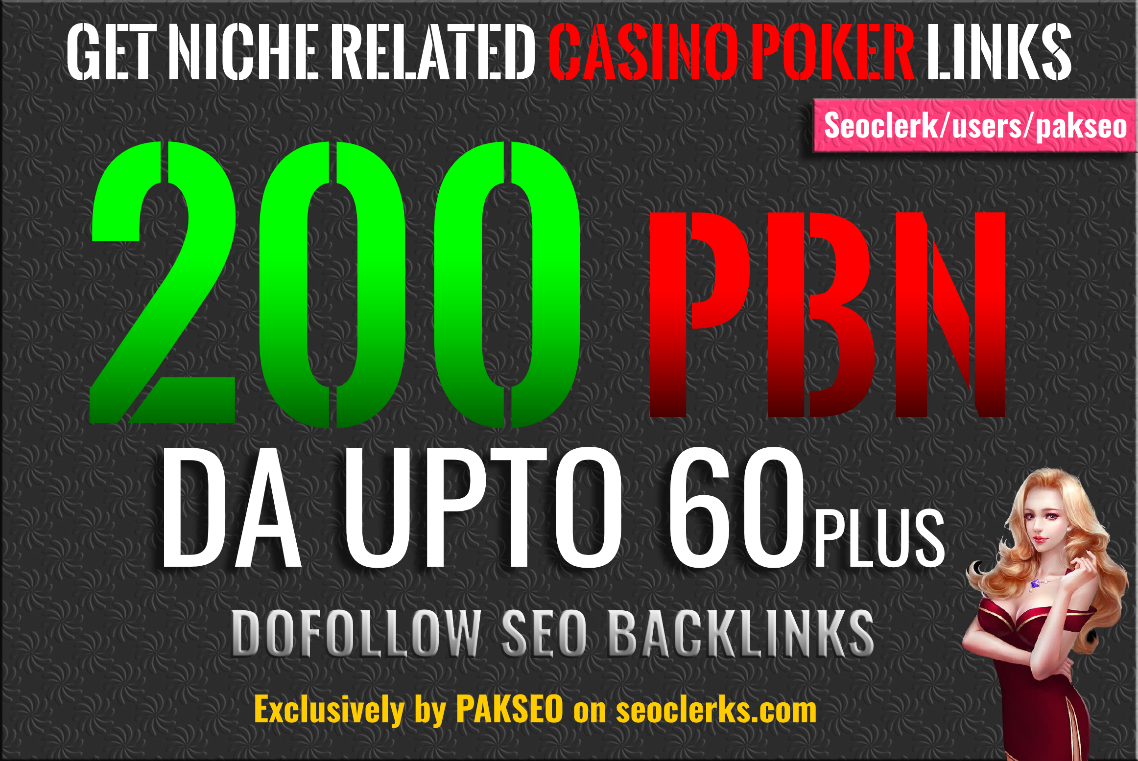 Build 200 PBN Casino Poker Gambling Backlinks DA Upto 60 plus All are Unique Domain PBNs links