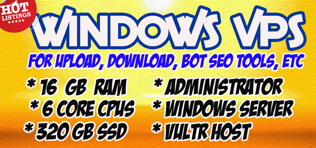 HOT SALE Windows VPS RDP 16 GB RAM 6 CPUs 320 GB SSD