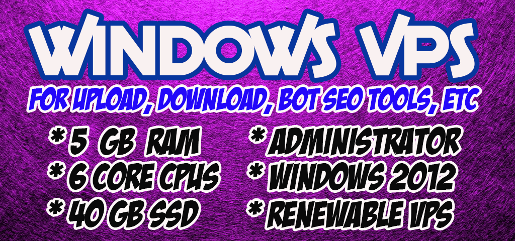 RenewabLe - WINDOWS VPS Rdp 6 Core Cpu Ram 5 GB SSD 40 gb