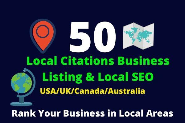 I will create 50 USA/UK/Canada/Australia Local Citations Business Listing & Local SEO
