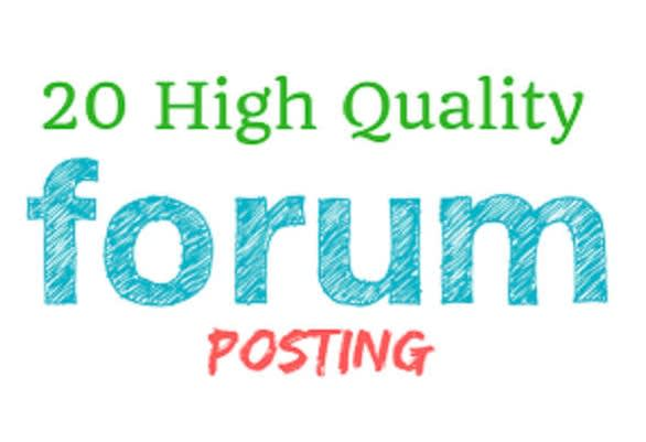 I will do 20 high quality forum posting not backlinks no promoting