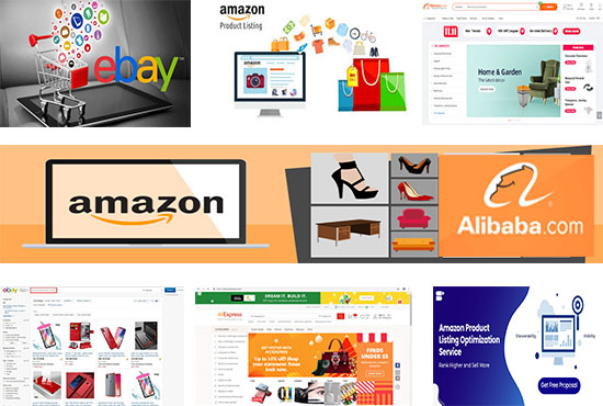 I will do product listing on alibaba,  aliexpress,  shopify,  walmart,  amazon and ebay