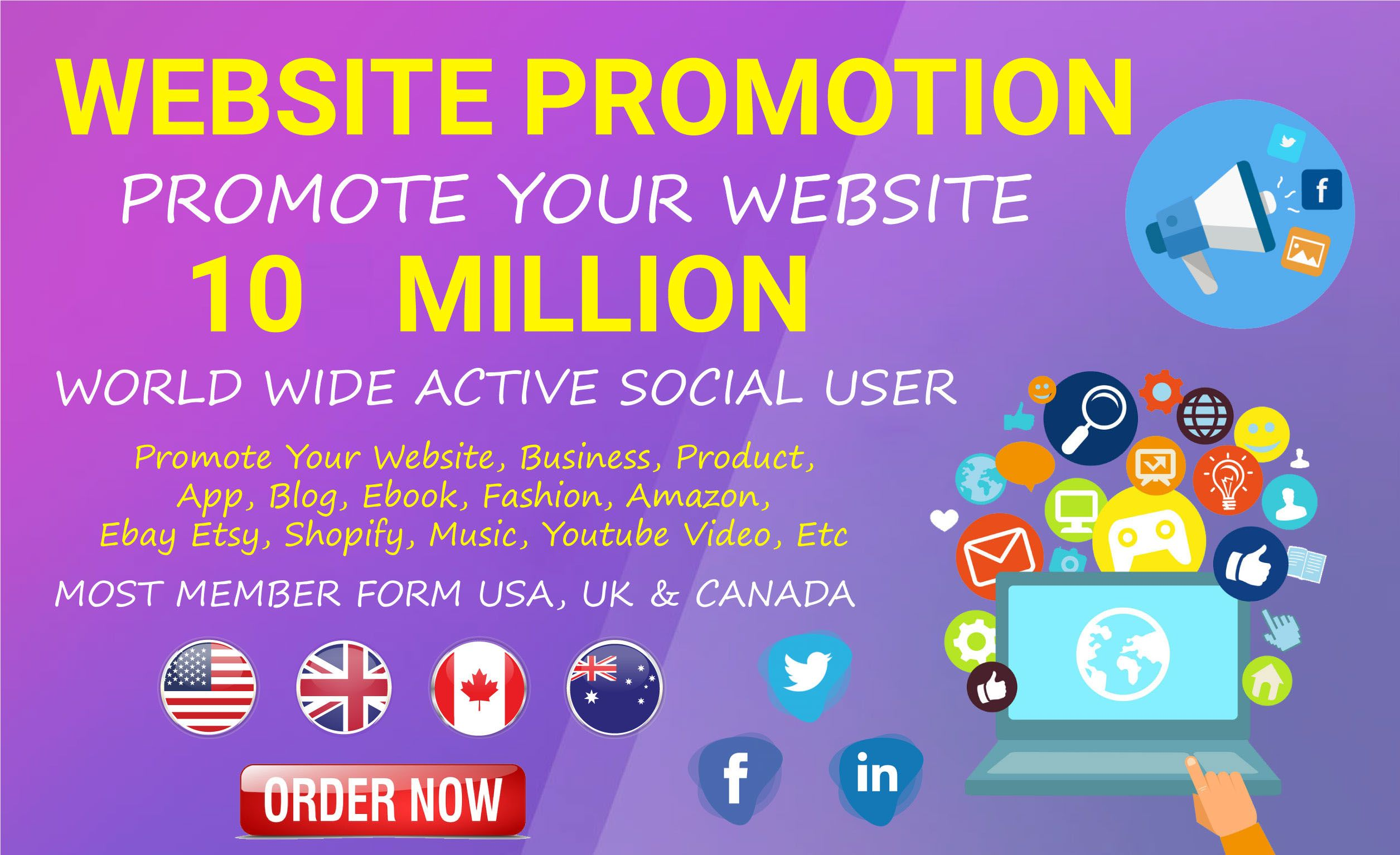 I will promote and market website business store book brand blog and any link