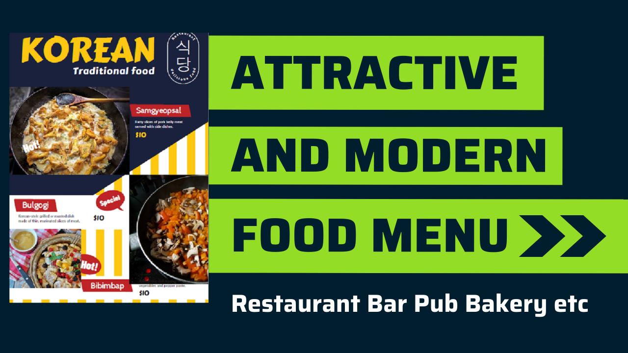I will do amazing restaurant food menu design