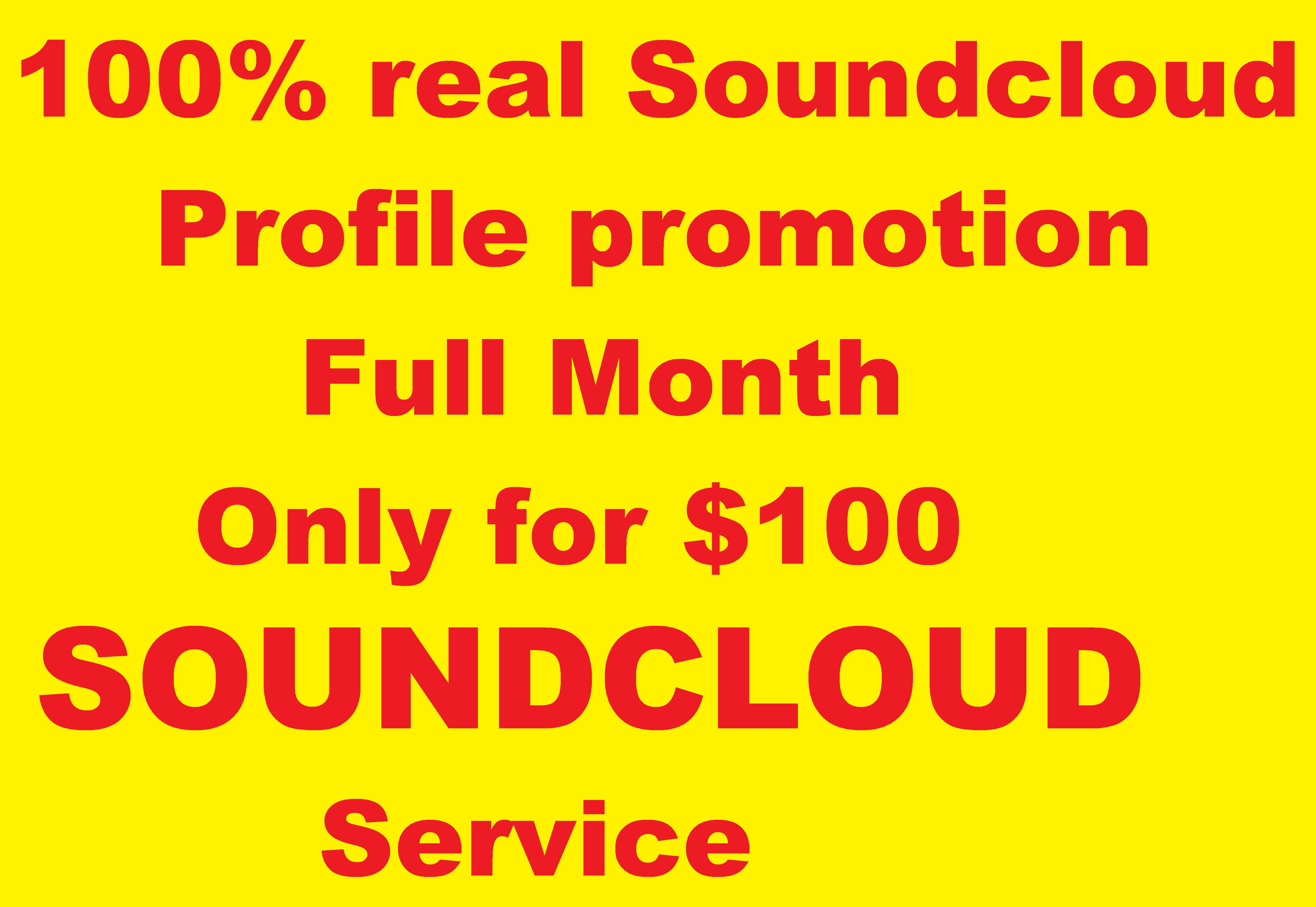 Promote your Soundcloud profile full month