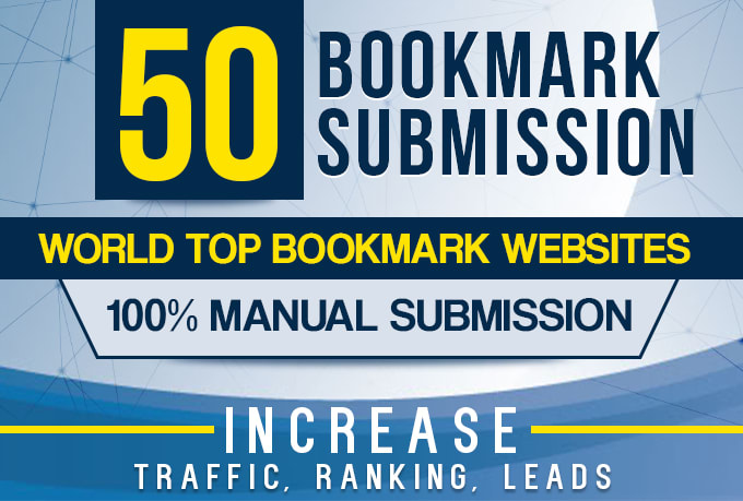 manually 50 bookmark submission backlinks.