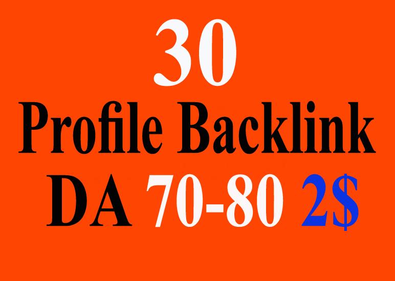 High Quality 30 High Authority Profile Backlinks 70-90 DA PR
