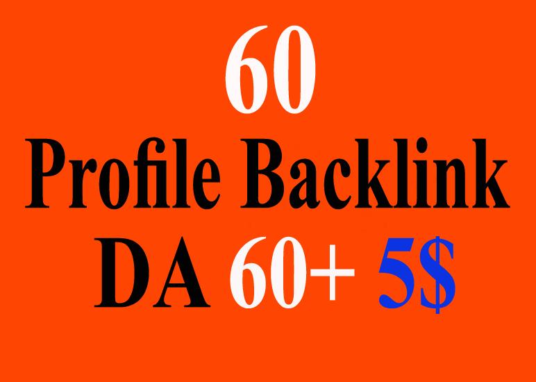 High Quality 60 High Authority Profile Backlinks 60+ DA PR 6-9