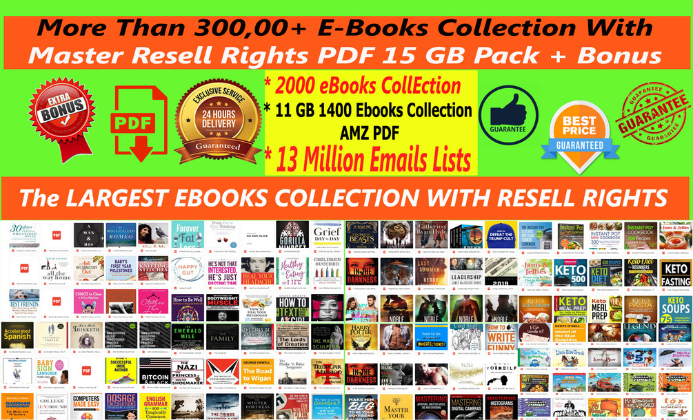 EBooks PLR 300,000+ collection with mrr pdf + 3400 Ebooks 25GB + + BONUS