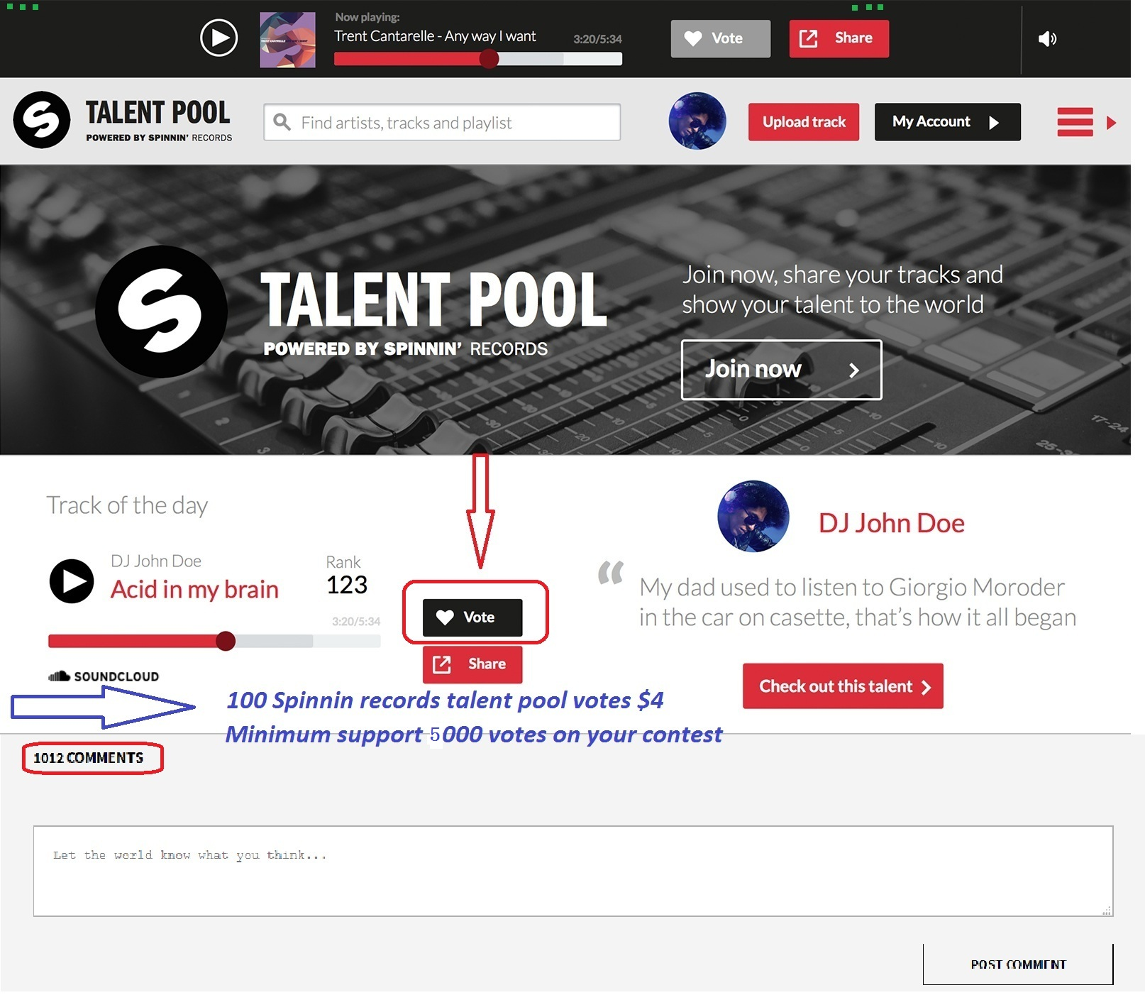 Promote 100 Spinnin Records Talent Pool Votes For Your Track