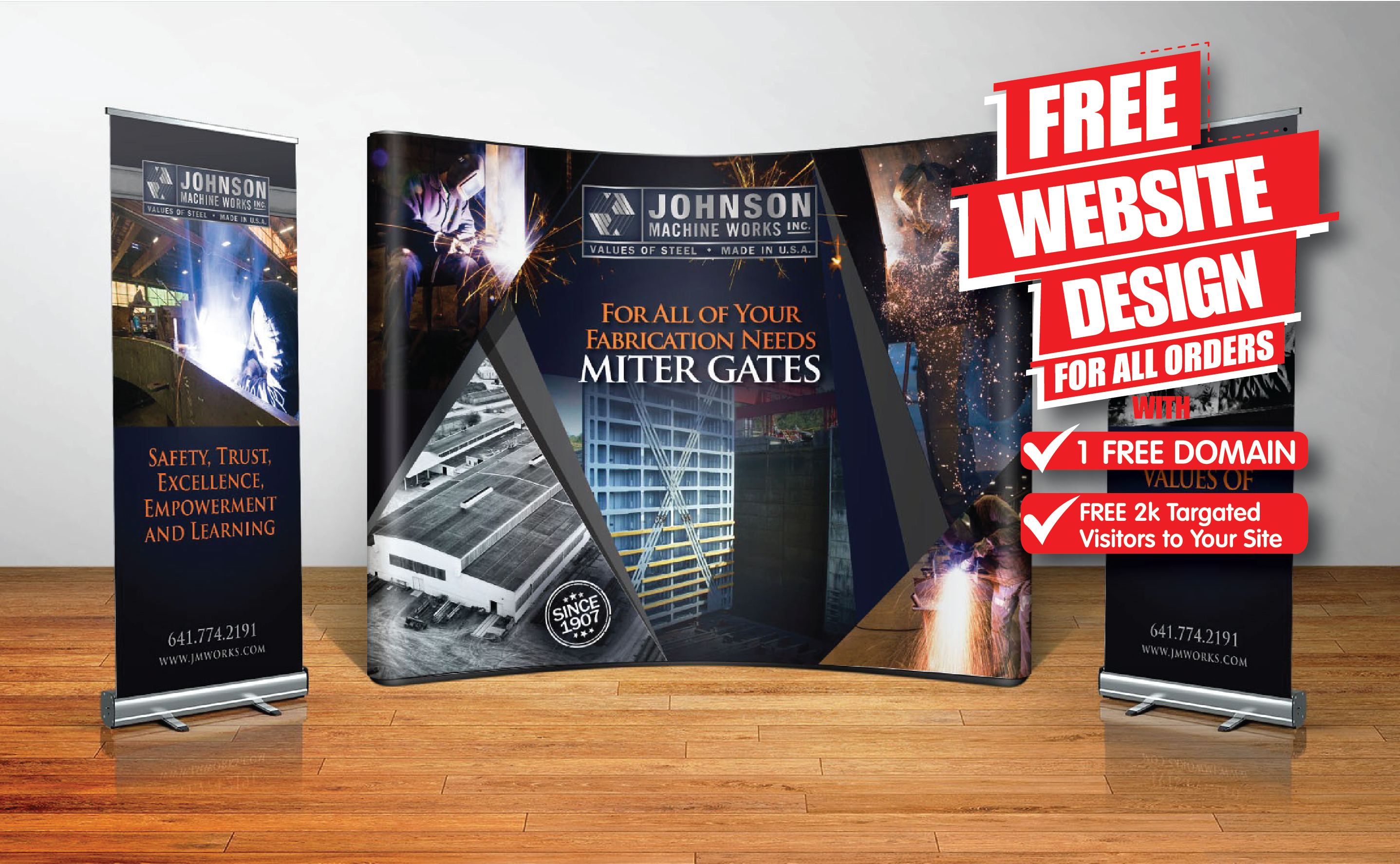 Design backdrop trade show banner ads with free web design