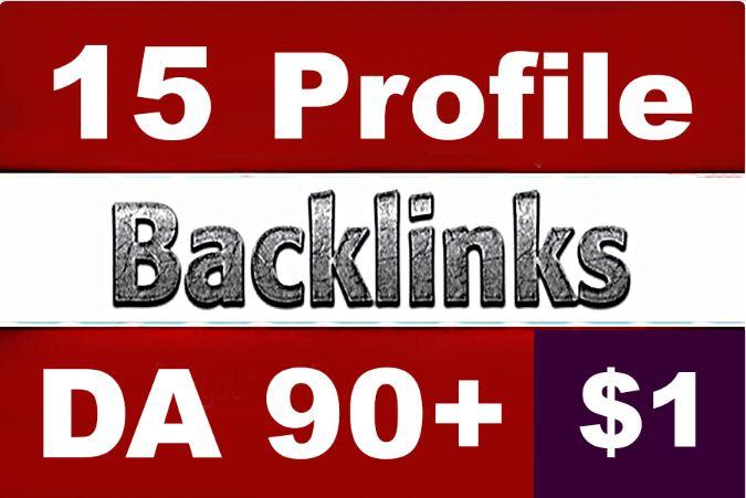 HQ 15 PR9 Profile Backlinks High 70-90 DA PA All PR-9 UNIQUE Domain