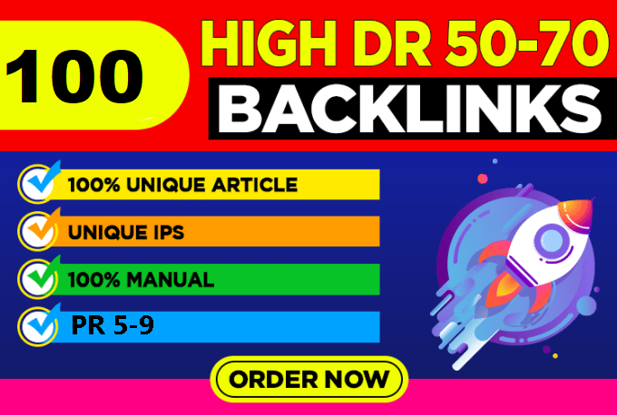 100 High Metrics Manually DR 50-70+ PBN Links