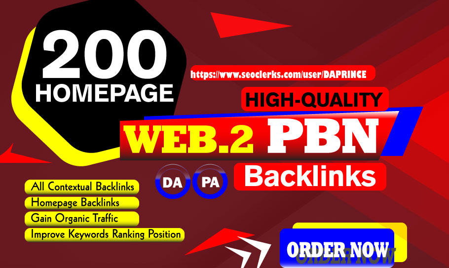 200 Homepage WEB 2.0 PBNs Backlinks On High DA~PA Domain Blog