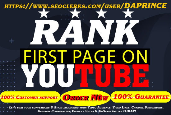 GUARANTEE YOUTUBE FIRST PAGE WITH POWERFUL SEO PACKAGE 100 GUARANTEED RANKING 1 TO 3 WEEKS