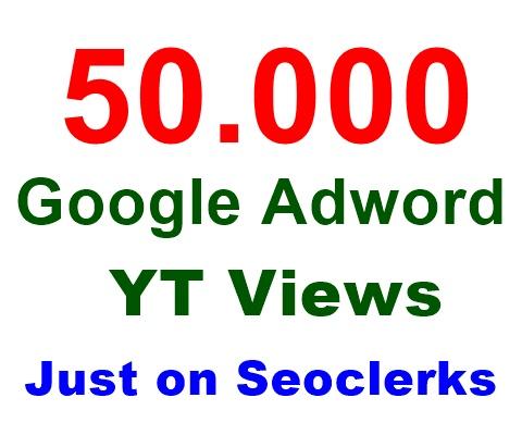 Provide 50,000 Google Adwords views,  Lifetime Guarantee