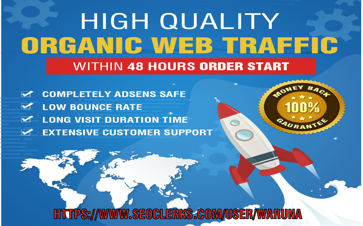 keyword targeted Organic web traffic with 2-3 minute visit Duration time