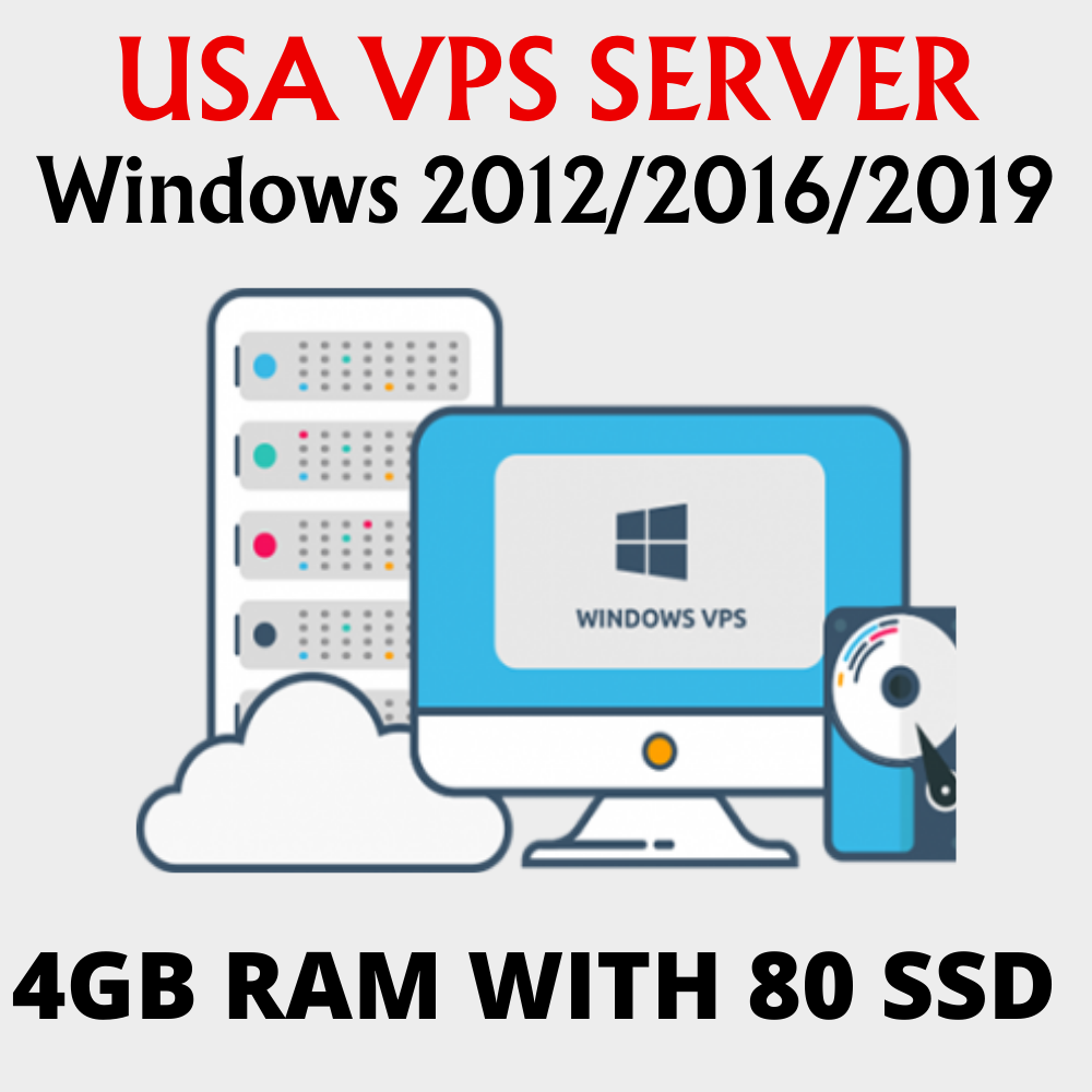 Windows Server 2012/2016/2019 RDP VPS 4GB RAM WITH 80 SSD 2vCPU
