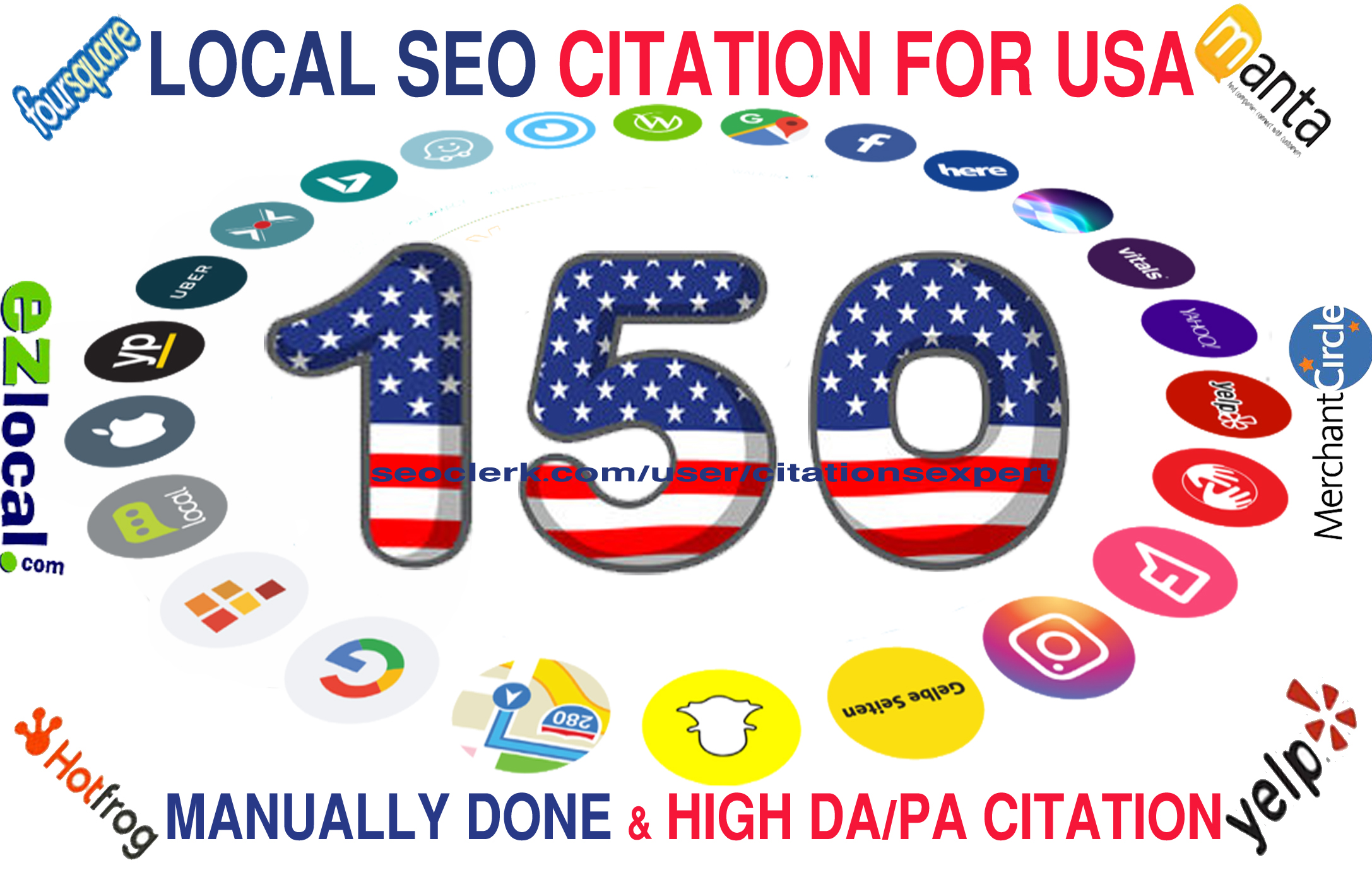 I will Build Top 150 Live USA Local Citation/Listing for Local SEO. 100 Satisfaction Guaranteed