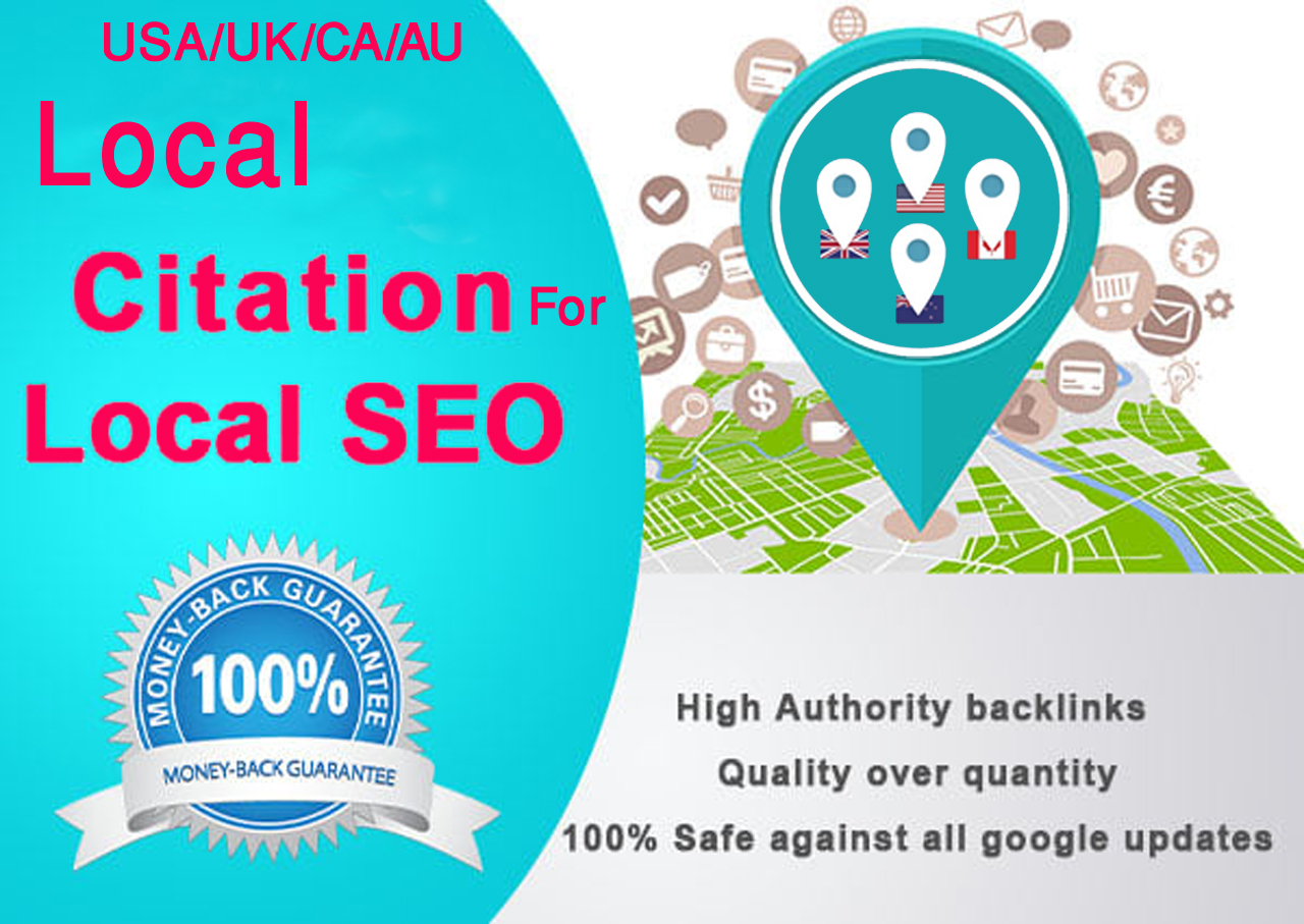 I will Do Manually TOP 40 Live USA/UK/CA/AU Local Citations for Local SEO. Satisfaction Guaranteed