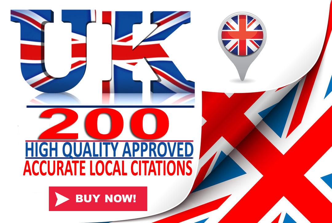 I will do high quality 200 APPROVED UK local SEO citations/listings. Satisfaction Guaranteed