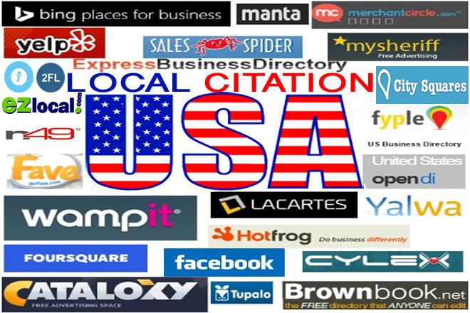 Do Manually TOP 100 Live USA Local Business Citation/Listing for Local SEO.