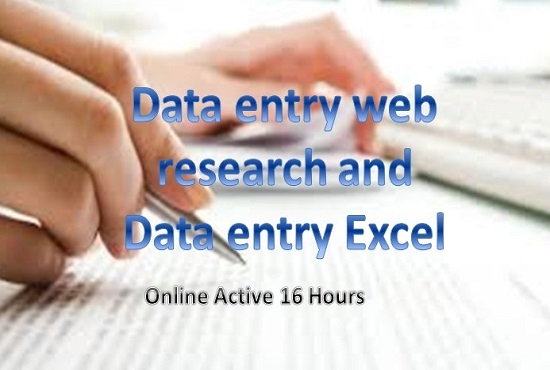 I Will High Quality Data Entry,data collection&Web Research Ms Excel 16 Hours