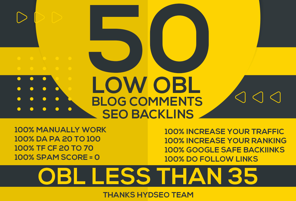 Do 50 low OBL blog comments backlins on DA PA TF CF high and OBL less than 35