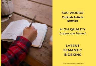 Quality,  SEO Compatible,  300 Words Latent Semantic Indexing,  Turkish Article Service