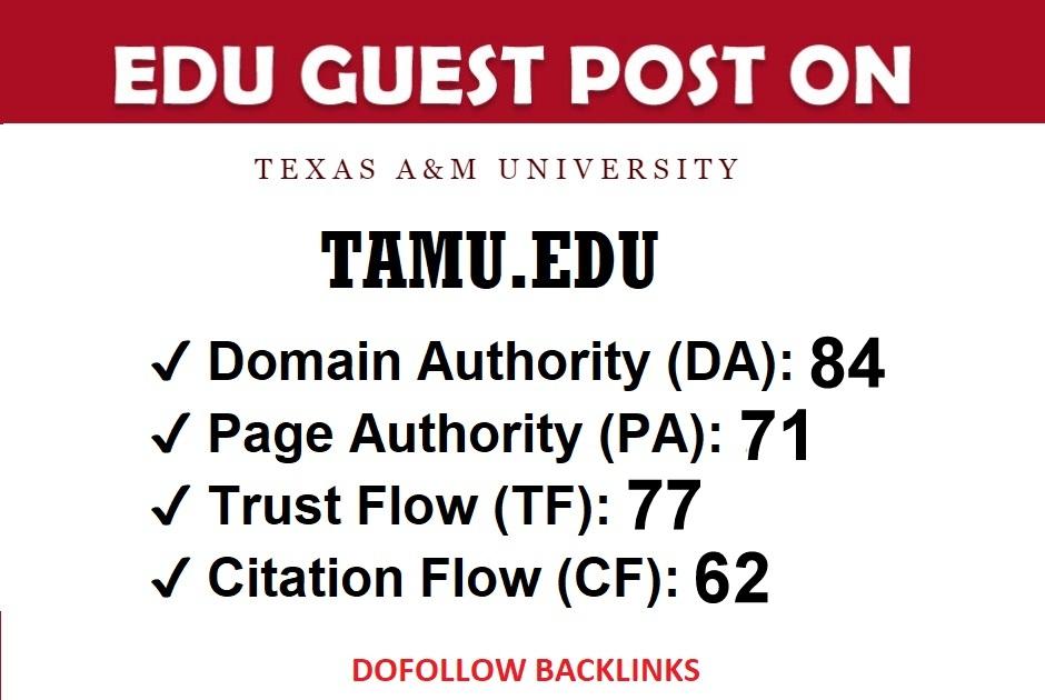 I Will Publish a Guest Post on TAMU EDU DA 84