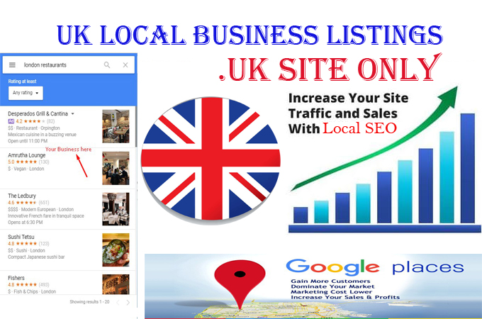 I will do 30 .UK local listings only for UK local business ranking